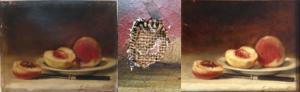 Schilderij met perziken voor en na restauratie van een beschadiging