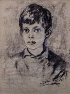 Houtskooltekening van Bernard Lutz (1968): Ronald als kind (negen jaar)