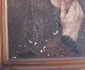 Detail van een schilderij met verfverlies door loszittende schilfers. Bedoeken voorkomt verder verfverlies.