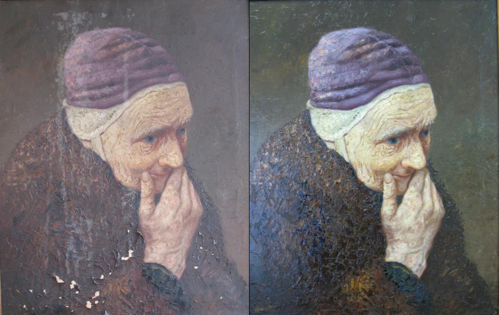 Tweemaal het portret van een oude vrouw, links voor restauratie, rechts na de restauratie